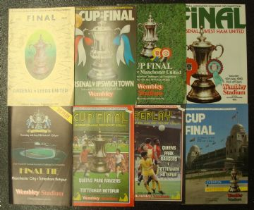 Collection of 8 different FA CUP FINAL football programmes